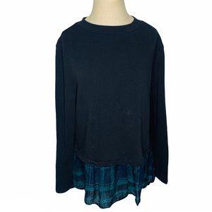 Loft Lightweight Black Peplum Plaid Peek Sweater